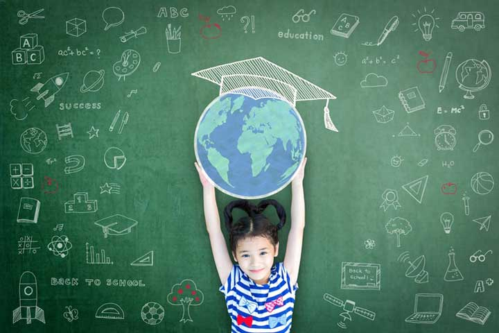 School child girl lifting world globe doodle on chalkboard for children's education international children day and world literacy day concept