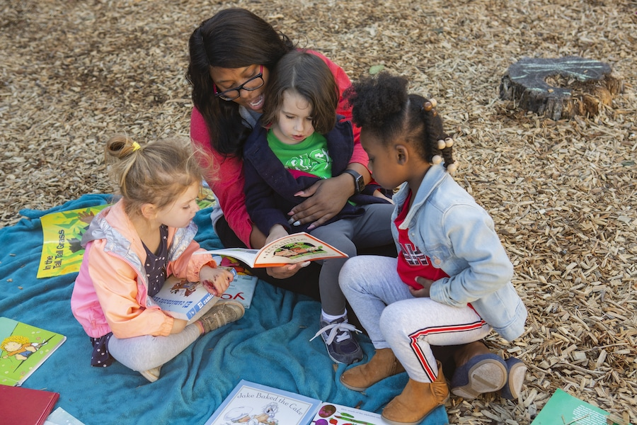 reading in a group with teacher