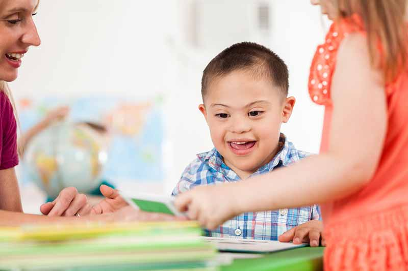 Young boy excited during center time