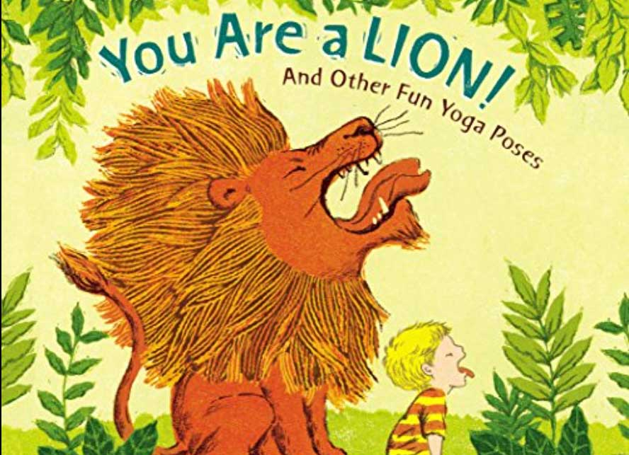 Book cover with lion and boy roaring