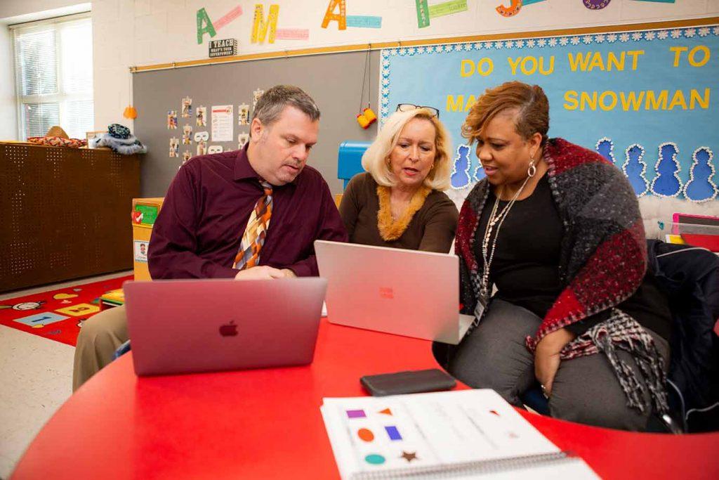 School leaders planning together