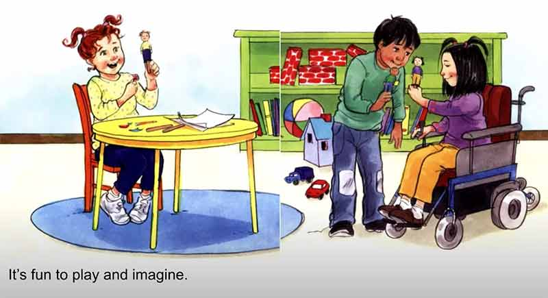Book page showing children playing and sharing