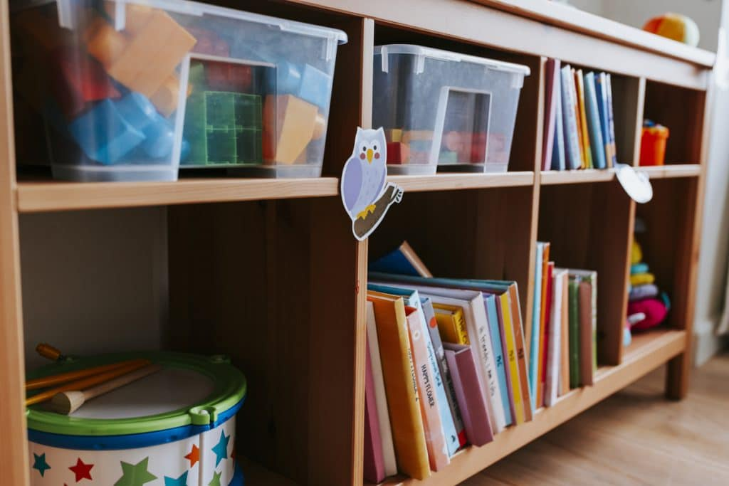 Shelves of toys and books