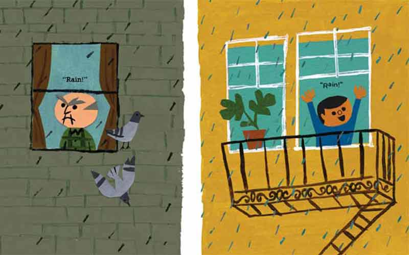 Page of the book RAIN!, where two characters have different reactions to rain